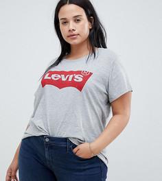 Серая рубашка с принтом логотипа Levis Plus - Серый