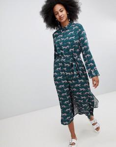 Платье миди с принтом и завязкой Monki - Зеленый