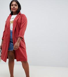 Длинное фактурное пальто New Look Curve - Оранжевый