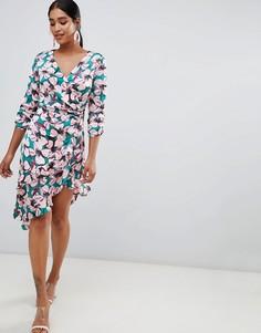 Асимметричное платье миди с запахом и цветочным принтом Liquorish - Мульти