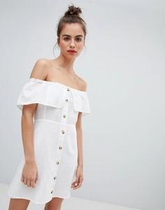 Белое платье на пуговицах Pull&Bear - Мульти