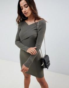 Трикотажное платье с запахом ASOS DESIGN - Зеленый
