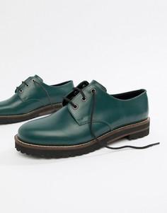 Кожаные туфли со шнуровкой на плоской подошве ASOS DESIGN - Зеленый