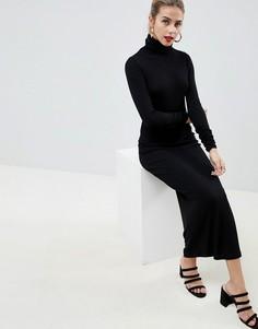Платье макси с длинными рукавами ASOS DESIGN - Черный