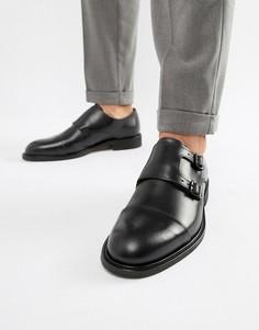 Кожаные туфли-монки с двумя ремешками Selected Homme - Черный