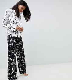 Пижама из двубортной рубашки с принтом лица и штанов ASOS DESIGN Tall - Белый