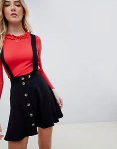 Мини-юбка на пуговицах с сарафанными бретельками ASOS DESIGN - Черный