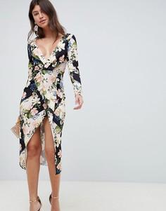 fc7cbce0af2ec08 Фактурное платье миди с запахом, длинными рукавами и цветочным принтом ASOS  DESIGN - Мульти