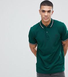 Зеленая облегающая футболка-поло с окантовкой и логотипом Fred Perry - Зеленый