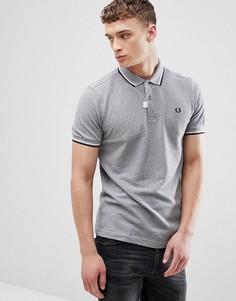 Серая меланжевая футболка-поло с двойным кантом Fred Perry - Серый