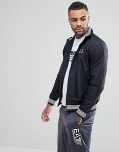 Черная куртка на молнии с отделкой EA7 - Черный