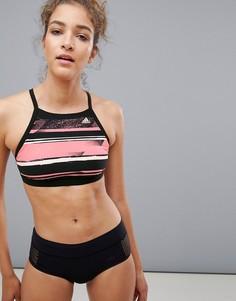 Бикини-топ с бретелью через шею и принтом adidas - Мульти