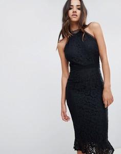 Кружевное платье миди с оборкой Girl In Mind - Черный