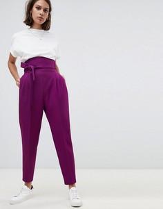 Суженные книзу брюки с завышенной талией и широкими штанинами ASOS DESIGN - Фиолетовый