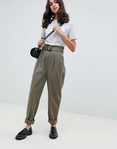 Широкие брюки с присборенным поясом ASOS DESIGN - Коричневый