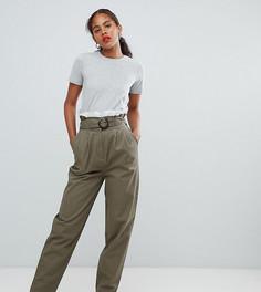 Широкие брюки с присборенным поясом и шнуровкой ASOS DESIGN Tall - Коричневый