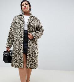 Пальто с леопардовым принтом Lost Ink Plus - Коричневый