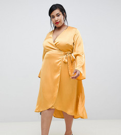 Атласное платье миди с запахом Lost Ink Plus - Желтый