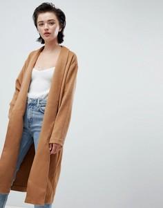 Бежевое трикотажное пальто с драпировкой Weekday - Бежевый