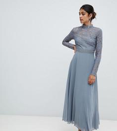 Кружевное платье миди для выпускного Little Mistress Tall - Серый