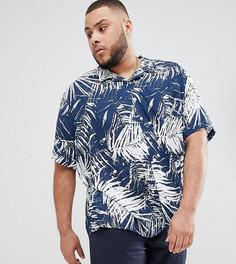 Рубашка с пальмовым принтом, короткими рукавами и отложным воротником Jacamo Plus - Темно-синий