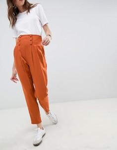 Зауженные брюки с завышенной талией ASOS DESIGN tailored - Красный