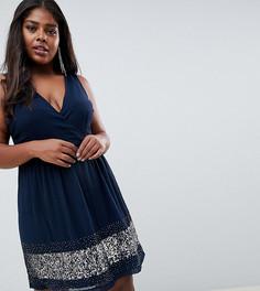 Короткое приталенное платье с запахом и отделкой Lovedrobe Lux - Темно-синий