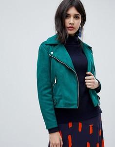 Байкерская куртка из искусственной замши New Look - Зеленый