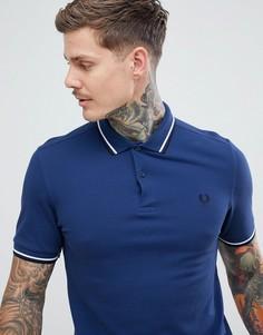 Голубая футболка-поло с двойной окантовкой Fred Perry - Синий