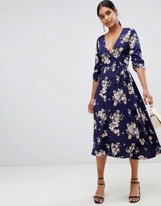 Платье миди с запахом и цветочным принтом Liquorish - Темно-синий