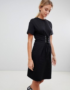 Платье миди со шнуровкой Glamorous - Черный