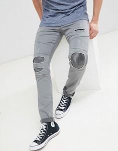 Байкерские джинсы Jack and Jones - Серый