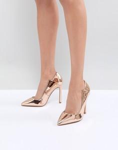 Туфли-лодочки цвета розового золота с вырезами Lost Ink - Золотой