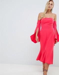 Платье миди с широким вырезом и годе Forever New - Красный