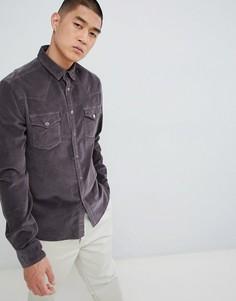 Выбеленная черная вельветовая рубашка узкого кроя в стиле вестерн с кнопками ASOS DESIGN - Черный