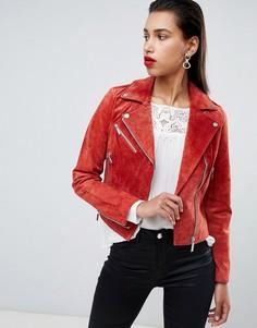 Замшевая байкерская куртка Morgan - Оранжевый