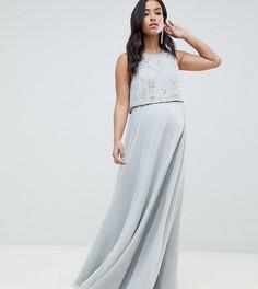 Платье макси с укороченным топом и отделкой ASOS DESIGN Maternity - Серый