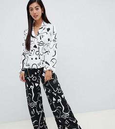 Пижама с двубортной рубашкой и брюками ASOS DESIGN Petite - Белый