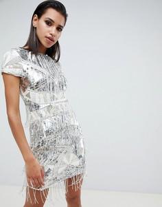 Платье-футляр мини с бахромой из бусин ASOS EDITION - Мульти