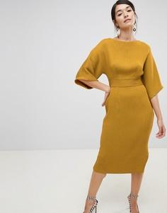 934337351c8 Платье-футляр горчичного цвета в рубчик с поясом Closet London - Желтый
