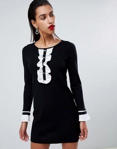 Черное платье-футляр с контрастной оборкой спереди Morgan - Черный