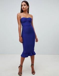 Синее платье-бандо миди с оборкой PrettyLittleThing - Темно-синий