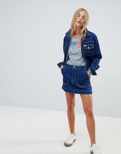Джинсовая мини-юбка с контрастными отделочными швами Wrangler - Синий