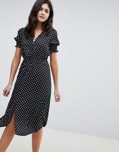 Платье миди в горошек со сборками на рукавах Influence - Черный