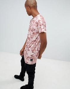 Длинная камуфляжная футболка Sixth June - Розовый