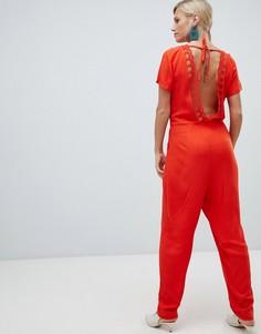 Комбинезон с V-образным вырезом на спине Vila - Оранжевый