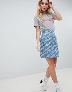 Джинсовая мини-юбка с логотипом House Of Holland - Синий