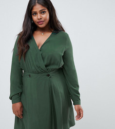 Повседневное платье мини с запахом ASOS DESIGN Curve - Зеленый