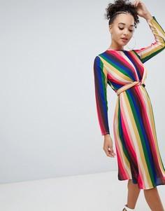 Платье миди в разноцветную полоску Boohoo - Мульти