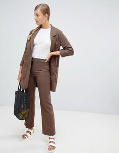 Коричневые брюки в клетку с широкими штанинами Monki - Коричневый